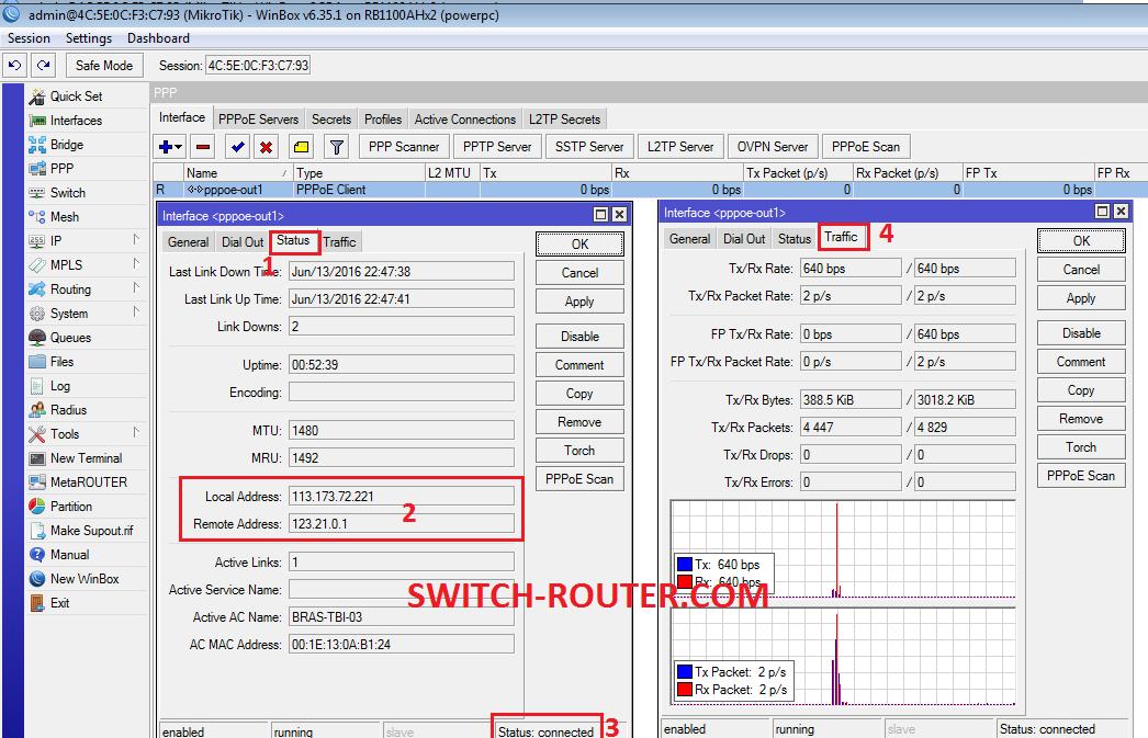 Cấu hình PPPoE trên Mikrotik RouterBoard RB1100AHx2